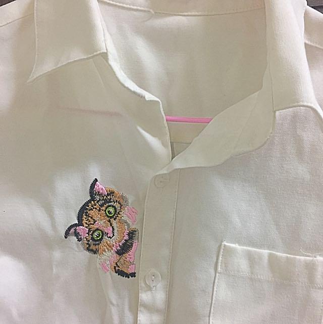 日本購入貓貓白襯衫