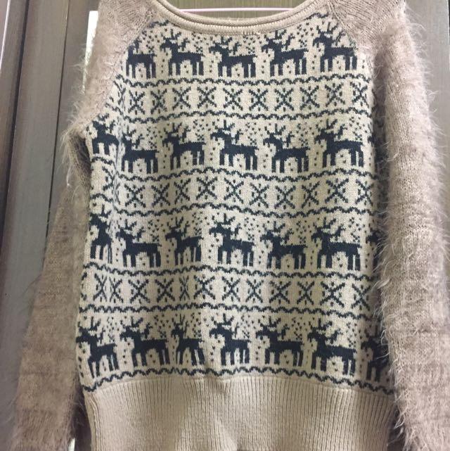 麋鹿毛毛袖針織毛衣