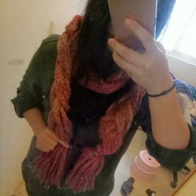 大麻花紅色系編織圍巾