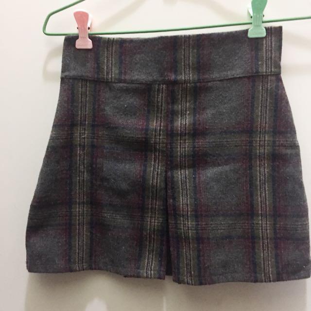 🖤格紋氣質側拉鍊毛呢短裙🖤