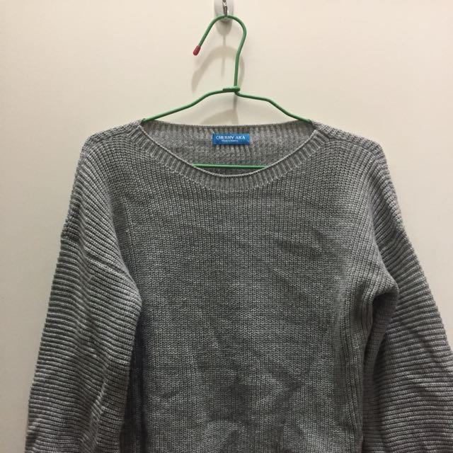 🖤韓版寬袖灰色短毛衣🖤