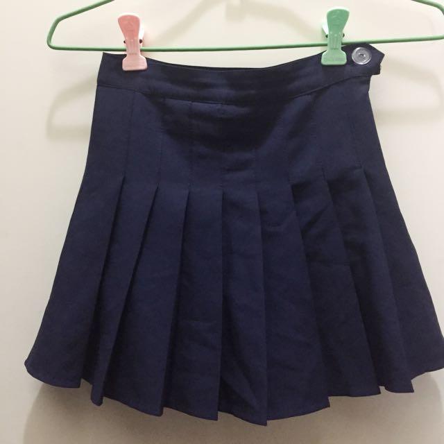 🖤內有安全褲深藍色百褶短裙🖤