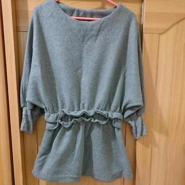 灰色刷毛洋裝式上衣