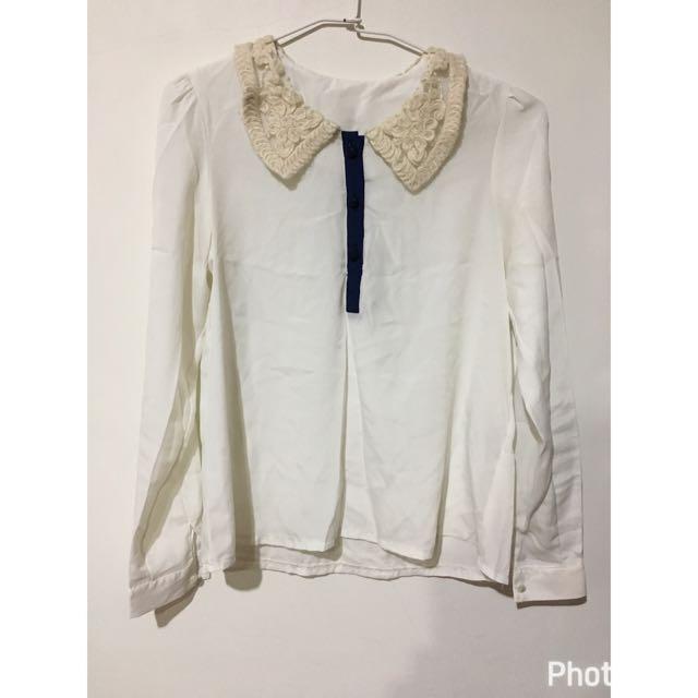 ✨布蕾絲領雪紡上衣✨