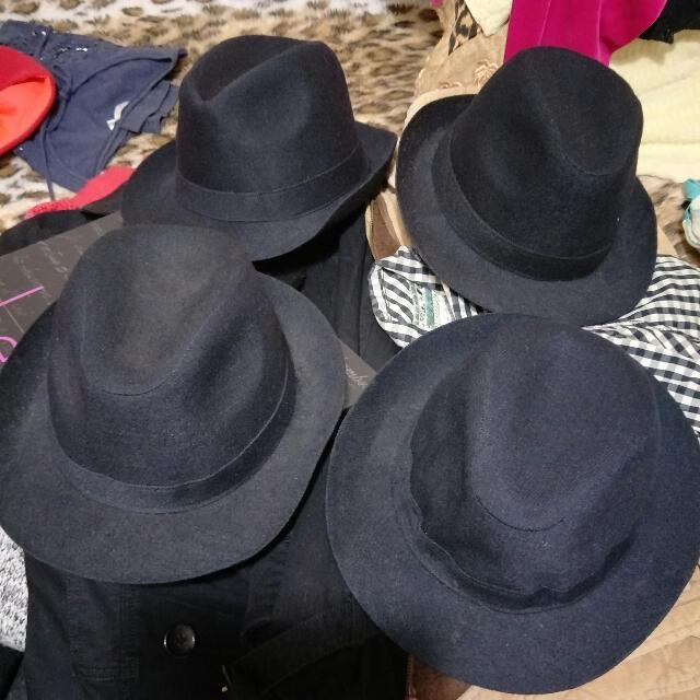 街舞 黑色毛呢紳士帽