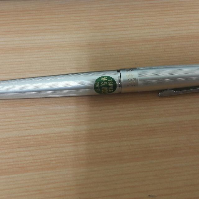 庫新 老白金 18k wg 鋁桿直條紋唐草鋼筆