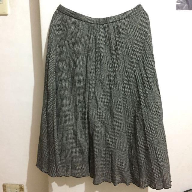 古著 黑白紋 百折長裙