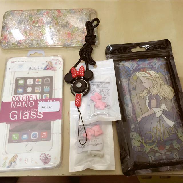 買二送四 Alice 愛麗絲浮雕手機殼  玻璃保護貼 送手機殼i線套可拆式掛繩
