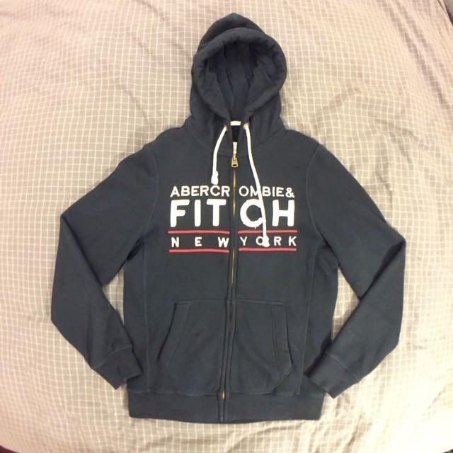 A&F Abercrombie & Fitch 麋鹿 深藍 古著 內裏抓絨 加厚 帽T外套 ( 近全新 吊牌保留 )