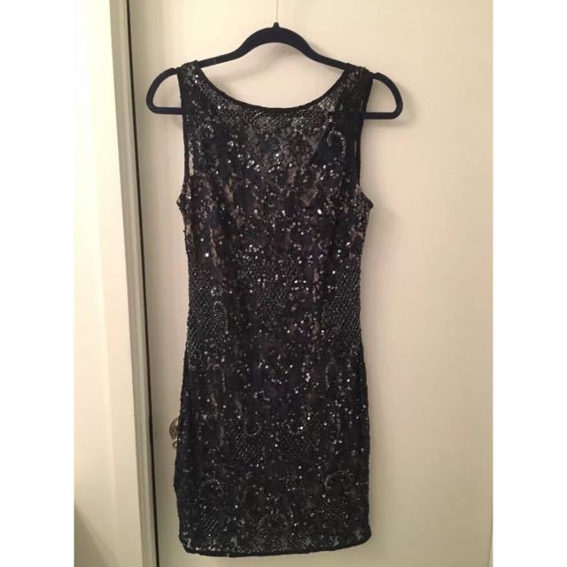 Aidan Mattox Navy Sequin Dress US 8