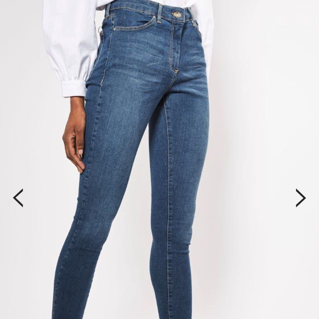 Authentic Topshop Moro Leigh Skinny Jeans In Blue