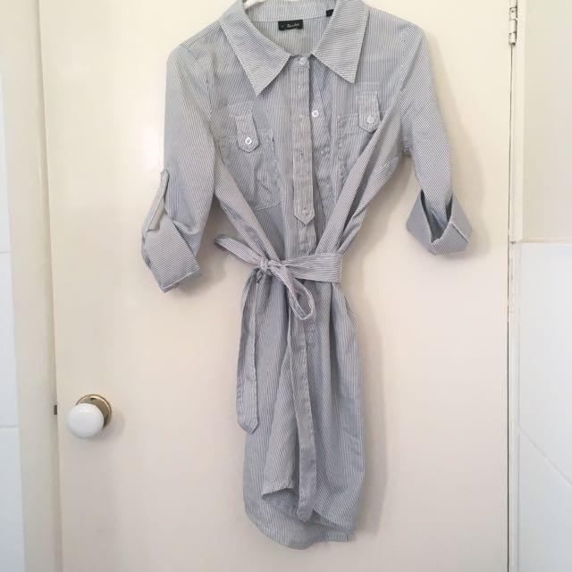 Bardot Shirt Dress With Tie