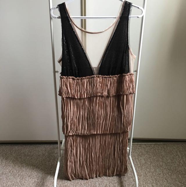 BCBG Cocktail Dress (M) Black Sequins And Beige Frills