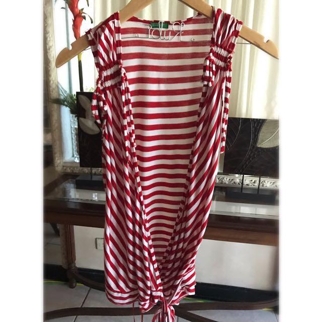 Benetton Red Striped Sleeveless Blouse