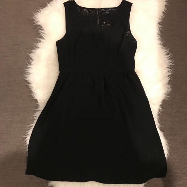 Black Lace Zip Up Dress
