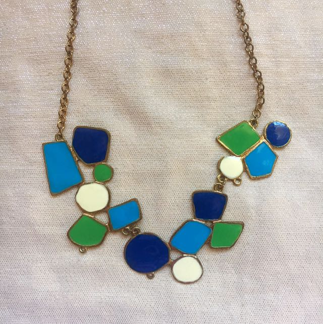 Blue Green White Statement Necklace