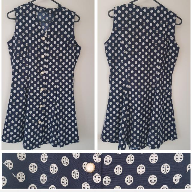 Blue Polka Dot Pinup Dress 8/10