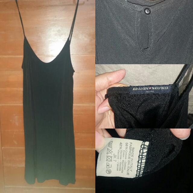 Birthday Sale!!! Brandy Melville Black Long Top Tunic  Minidress With Keyhole At Back One Size