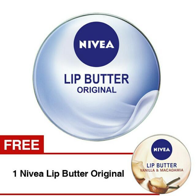 Nivea Lip Butter Original 16.7gr + Free Nivea Lip Butter Vanila 16.7gr, Health & Beauty, Makeup on Carousell