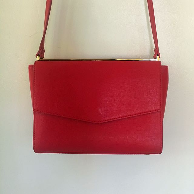 Charles and Keith Red Sling Bag