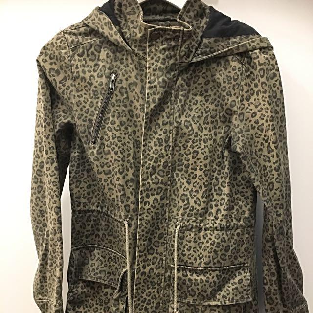 Dangerfield Leopard Print Khaki Jacket Parka Anorak