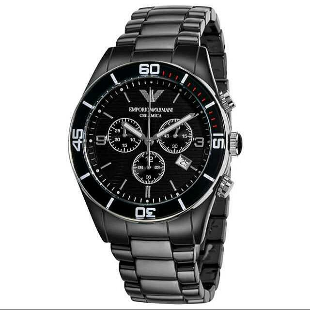 【EMPORIO ARMANI】黑色三眼多功能陶瓷男士腕錶  AR1421  免運