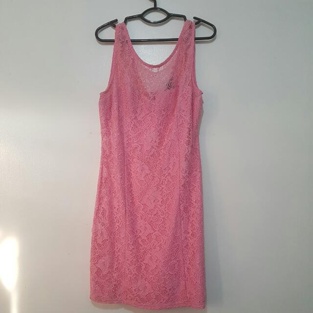 Forever 21 Baby Pink Lacy Dress