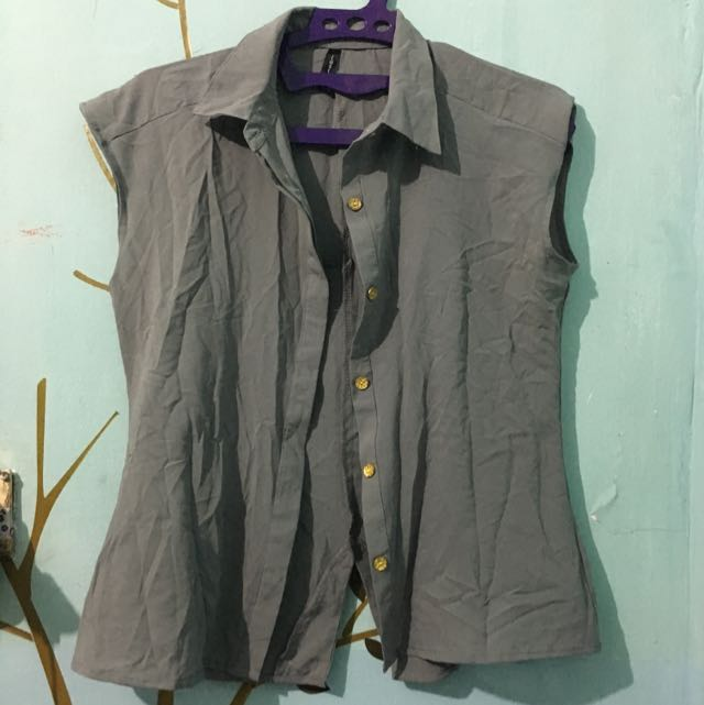 Grey Top With Gold Button