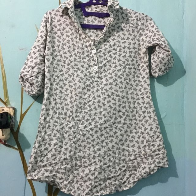 Grey-White Ribbon Shirt