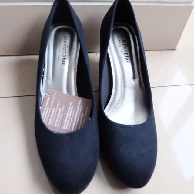 heels comfort plus warna navy (biru tua) size 37