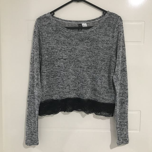 H&M Grey Cropped Sweater