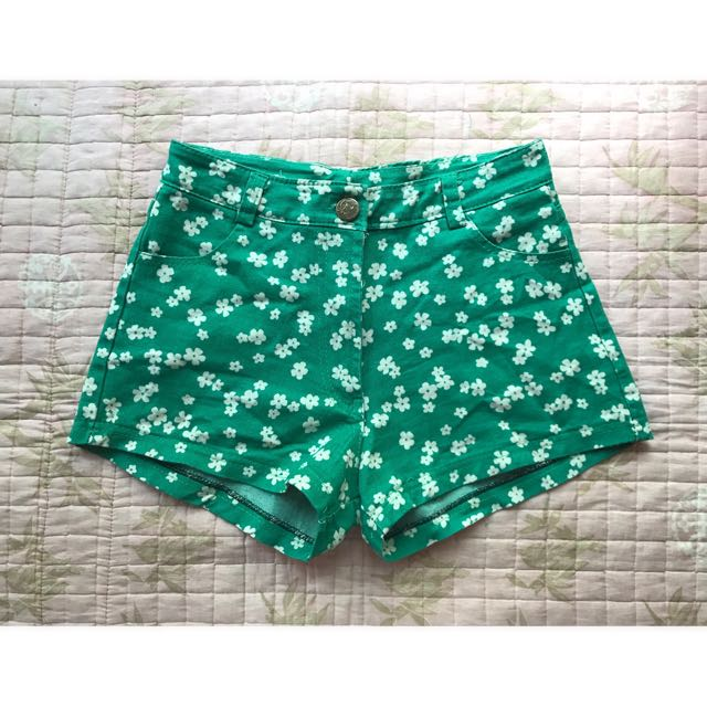 July Green Shorts With Flower Prints