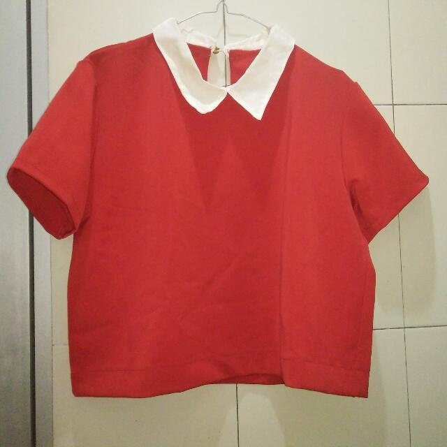 Korean Collar Crop Top (Red)
