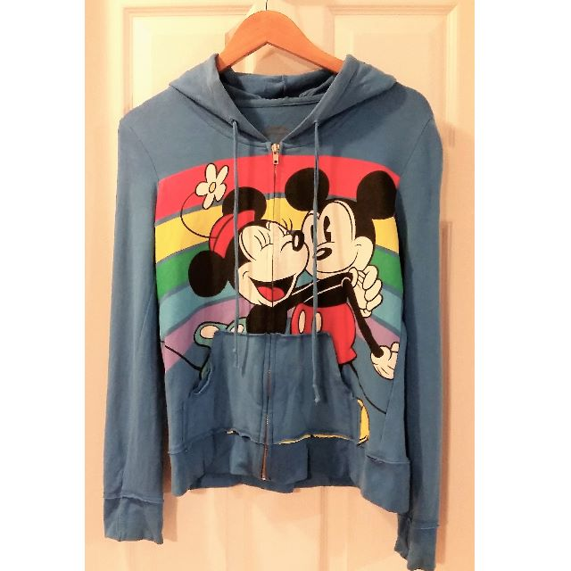 Mickey and Minnie Mouse Zip Up Hoodie Sweatshirt Size L