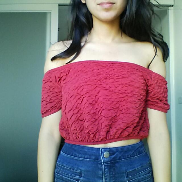 Misguided Red Off-Shoulder Top - Size 4