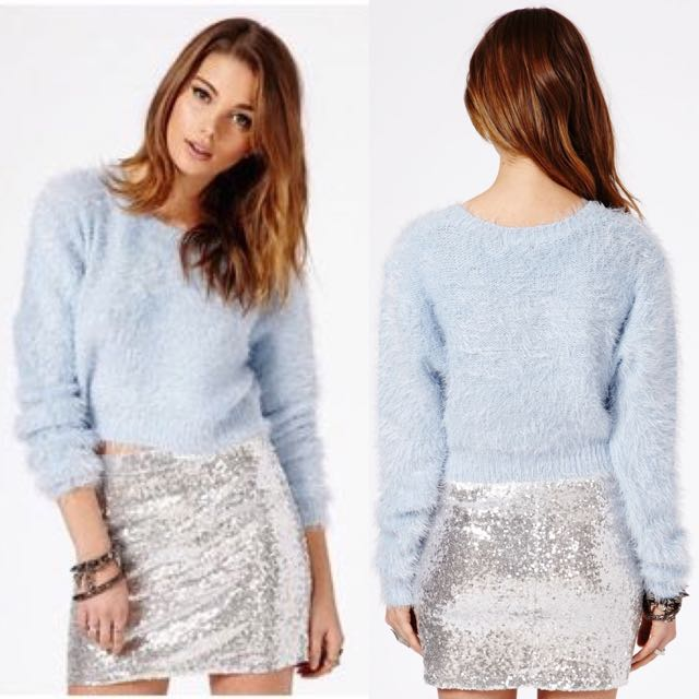 Missguided Eyelash Knit Long Sleeve Cropped Jumper
