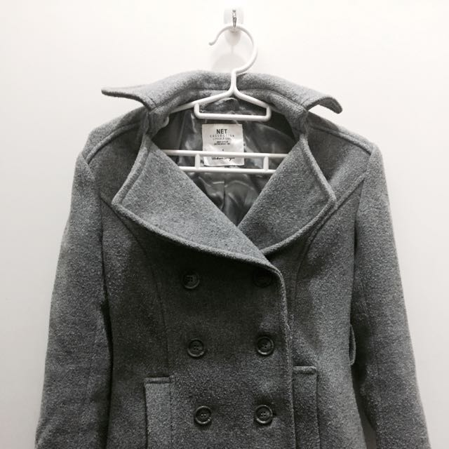 🖤NET灰色顯瘦排扣大衣🖤