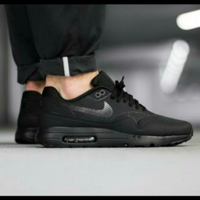 Nike Air Max 1 Ultra Essential in TRIPLE BLACK, Women's