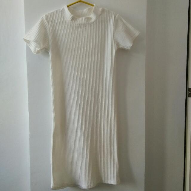 Off White Ribbed Dress
