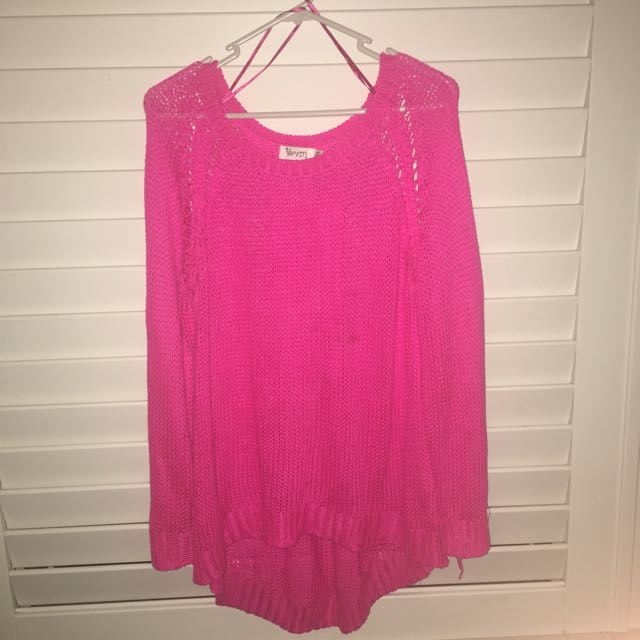 PINK KNITTED JUMPER M/L