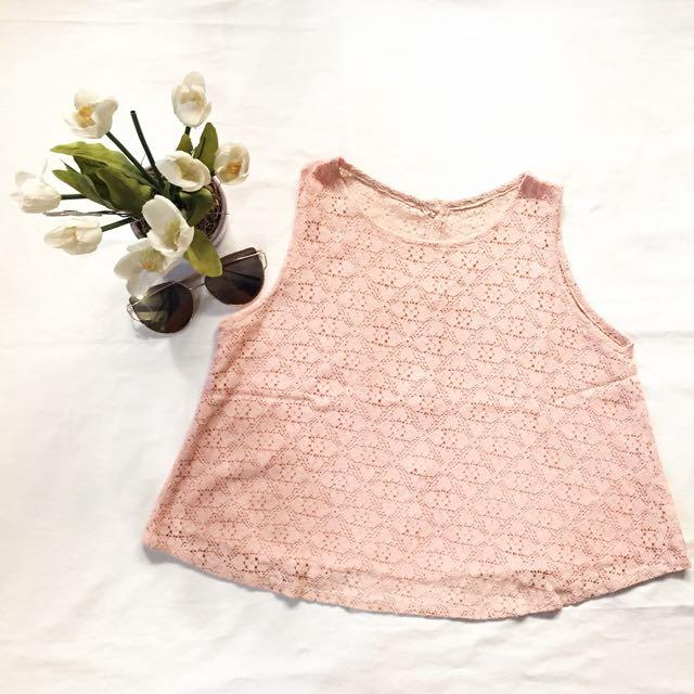 pink lace crop top ♡