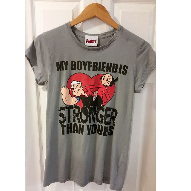 "Popeye Novelty Graphic Character T-Shirt ""My Boyfriend Is Stronger"" Size XL"