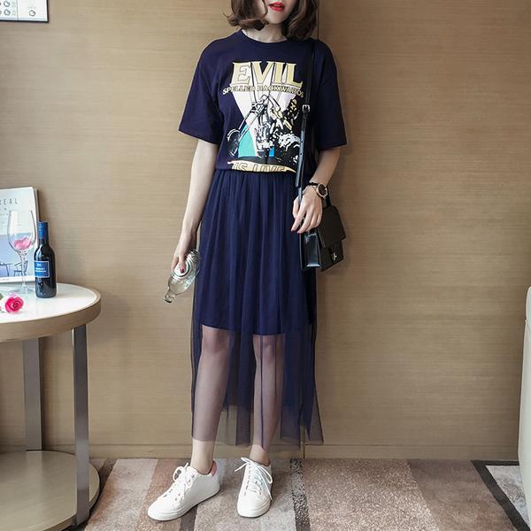R113  春裝新款時尚印花假兩件拼接網紗連身裙