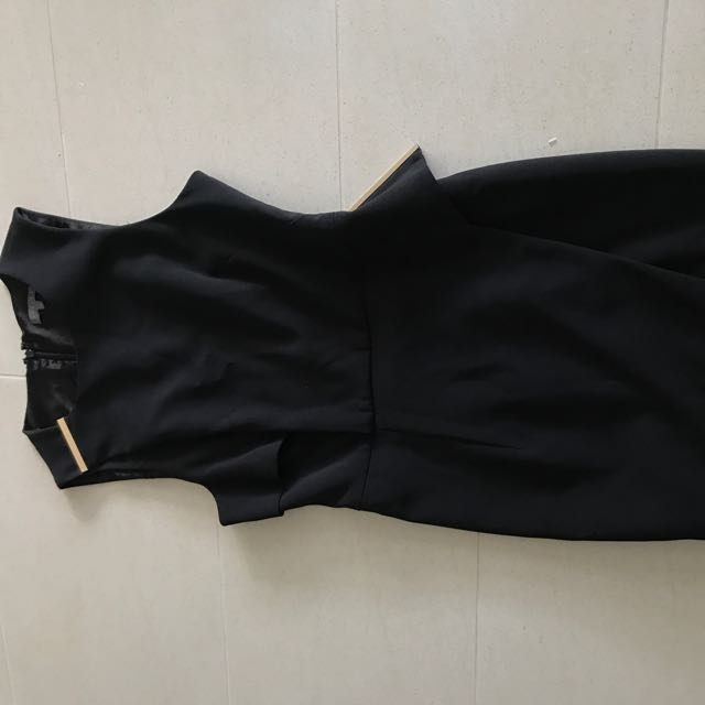 Sheike Gold Detail Black Corporate Dress Size 8