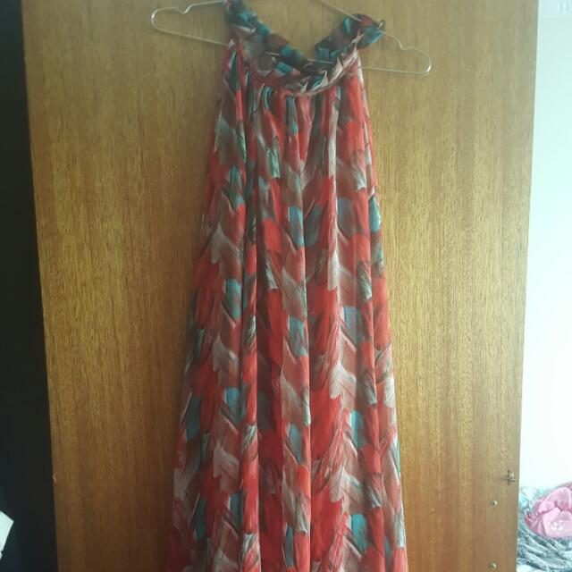 Spring Summer Multicoloured Feather Pattern Maxi Dress