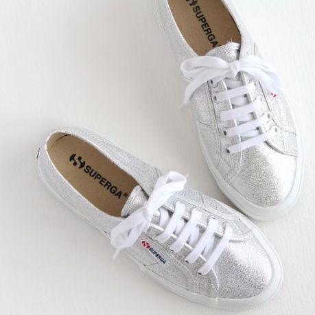Superga 2750 Lamé Silver Size 36, Women