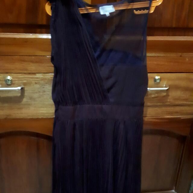 TANGO Purple Off-Shoulder/Mesh Dress With Pleats - Large