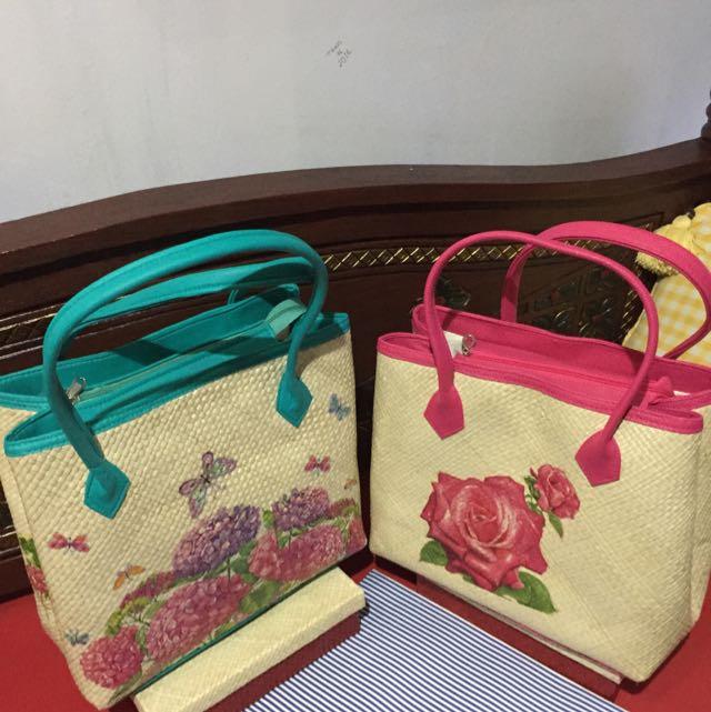 Tas Decoupage Tikar Pandan Model Webe Besar Warna Pink Dan Tosca