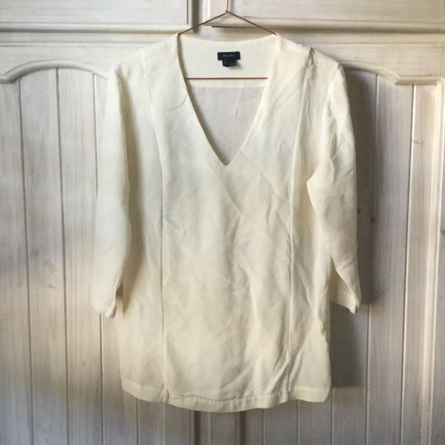 Theory Cream Silk Shirt Too Size P 6/8