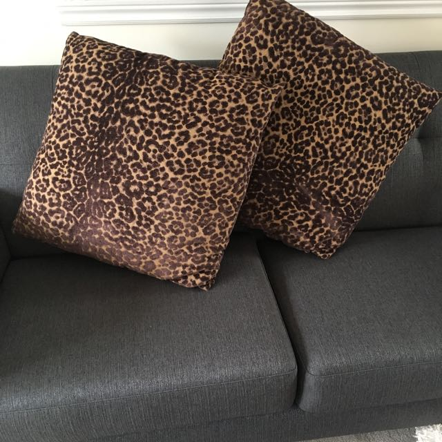 Two Oversized Leopard Print Decorative Pillows